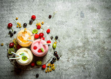 Berry smoothie made from raspberries, currants and gooseberries. On a stone background Stock Images