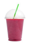 Berry smoothie in plastic cup stock photos
