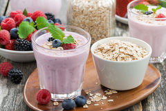 Berry Smoothie With Oatmeal In A Glass Stock Photography