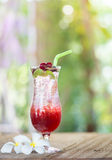 Berry soda with ice on wood table Royalty Free Stock Image