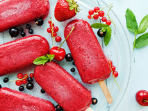 Berry sorbet. Ice-cream berry sorbet on glass plate. Shallow dof Royalty Free Stock Image