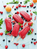 Berry sorbet. Ice-cream berry sorbet on glass plate. Shallow dof Royalty Free Stock Images