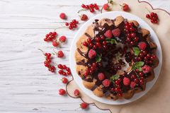 Berry sponge cake with chocolate icing on a plate. Horizontal to Royalty Free Stock Images