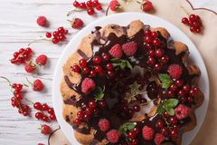 Berry sponge cake with chocolate on a plate closeup. Horizontal. Homemade berry sponge cake with chocolate icing on a plate closeup. horizontal view from above stock image