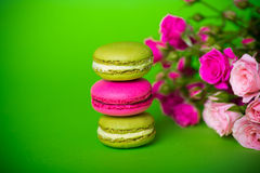 Berry spring color macaroons food background Royalty Free Stock Images