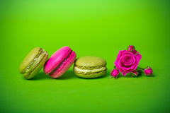Berry spring color macaroons food background Stock Photography