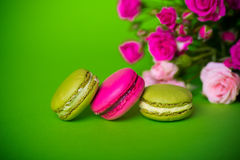 Berry spring color macaroons food background Royalty Free Stock Image