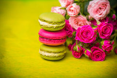 Berry spring color macaroons food background Royalty Free Stock Photography
