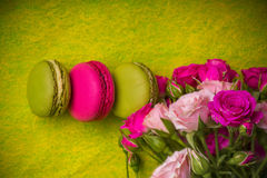 Berry spring color macaroons food background Royalty Free Stock Photo