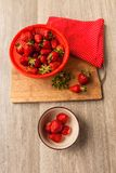 Berry strawberries in a ceramic bowl Royalty Free Stock Images