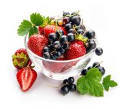 Berry strawberry and currant with green leaves royalty free stock image