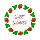 Berry Strawberry Frame con una inscripción Foto de archivo libre de regalías