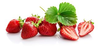 Berry strawberry with green leaf Fruity still royalty free stock images