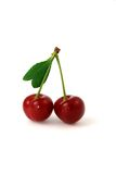 Berry of a sweet cherry. Fresh berry of a sweet cherry with a leg and a sheet Stock Images