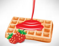 Berry syrup over belgian waffle Stock Photography