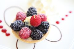 Berry tart cake. In close up royalty free stock image