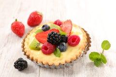 Berry tart with cream. Studio shot Royalty Free Stock Image