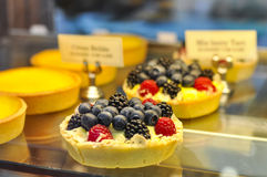 Berry Tart. Tart with raspberry, blackberry and blueberry at the bakery shop Stock Photography