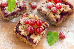 Berry tart on a wooden board, top view, close-up Royalty Free Stock Image