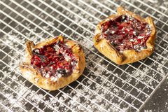 Berry Tarts On Cooling Rack royalty-vrije stock foto's
