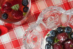 Berry tea and cake with fresh berries Stock Photos