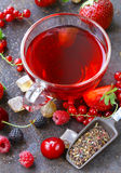 Berry tea with fresh currants, raspberries Stock Photography
