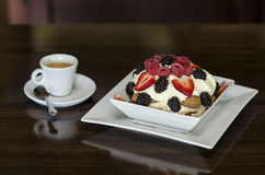 Berry Tiramisu and espresso Royalty Free Stock Photos