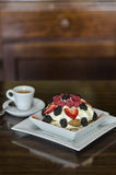 Berry Tiramisu and espresso Stock Photography