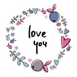 Berry wreath with hearts and phrase Love you. Decorative berry wreath with hearts and phrase Love you. Handwritten text Vector Illustration