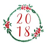 2018 on berry wreath watercolor drawing on white paper backgroun Stock Image