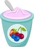 Berry Yoghurt And Spoon royaltyfri illustrationer
