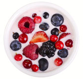 Berry yogurt with berries Stock Images