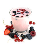 Berry yogurt with berries Stock Photography