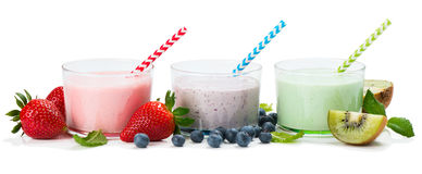 Berry yogurts in the glasses Royalty Free Stock Photography