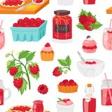 berrying新鲜的汁液的莓传染媒介成熟红色莓果或水多的果酱和甜点心蛋糕或者杯形蛋糕与冰淇凌 库存例证