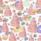 桃红色鲜美蛋糕生日被隔绝的和颜色杯子有逗人喜爱的杯形蛋糕berrypattern背景在淡色水彩,夹子的 库存例证