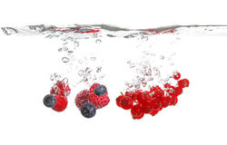 Berrys splash in water Royalty Free Stock Photos