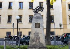Bersagliere war monument, Piazza della Vittoria, Sorrento. Pictured is the war monument to Bersagliere in the Piazza della Vittoria overlooking the Gulf of Royalty Free Stock Photo