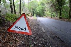 Überschwemmen Sie Warnzeichen Stockfotos