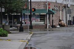 Überschwemmte Straße in Belvidere, New-Jersey Stockfotos
