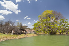 Überschwemmter Erholungsort am See Baringo in Kenia Stockbilder