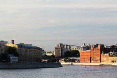 Bersenevskaya embankment and The Red October manufacture, Moscow Stock Images