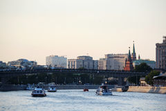 Bersenevskaya embankment and The Red October manufacture, Moscow Royalty Free Stock Image