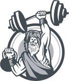 Berserker Lifting Barbell Kettlebell Circle Retro. Illustration of a berserker, a champion Norse warrior wearing pelt of bear skin lifting barbell and kettlebell Stock Photo