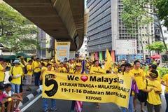 Bersih 5.0. Kuala Lumpur, Malaysia 19 Nov 2016 : Yellow shirt Supporter of Bersih 5 Rally for Free Fair Elections. Bersih organized Rallies 19 November 2016 in Royalty Free Stock Photos