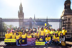 Bersih protest. THE HAGUE 29/08/2015 - Group photo of Bersih protestants in front the Peace Palace at The Hague, Netherlands Stock Image