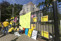 Bersih protest. THE HAGUE 29/08/2015 - Bersih protestant arranging boards and slogan in front the Ambassy of Malaysia at The Hague, Netherlands Stock Image