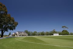 Bert Sutcliffe Oval, cricket Ground. The Bert Sutcliffe Oval at Lincoln University, Canterbury, New Zealand Stock Photo