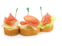 A Bertchen with ham. On a white background stock images