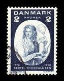 Bertel Thorvaldsen, danish sculptor. DENMARK - CIRCA 1970: a stamp printed in the Denmark shows Bertel Thorvaldsen, danish sculptor, birth bi-centenary, circa royalty free stock image